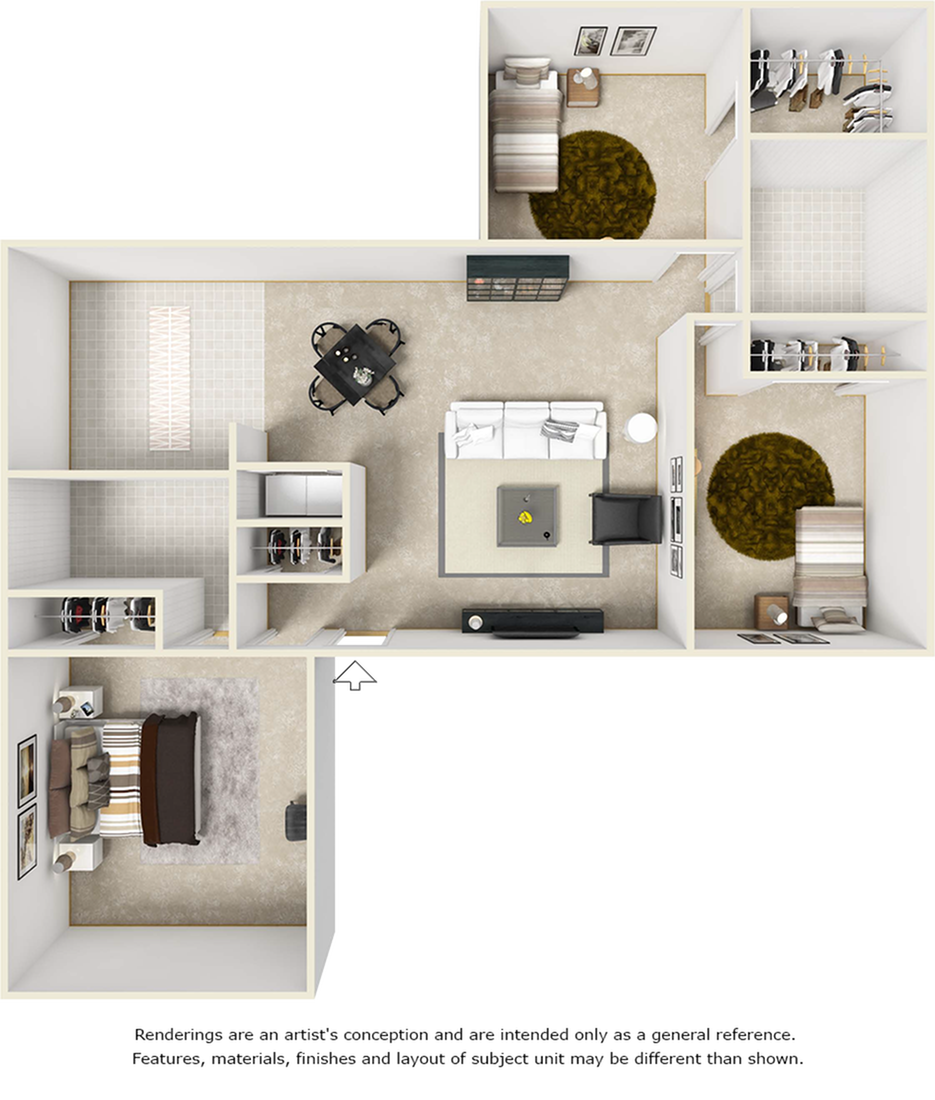 Cleveland floor plan with 3 bedrooms and 2 bedrooms