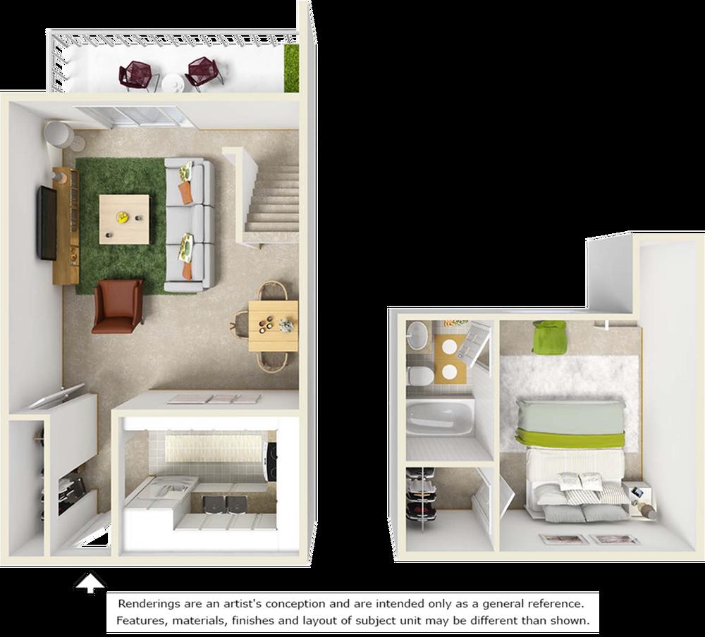 Ravine floor plan with 1 bedroom, 1 bathroom and premium wood style flooring