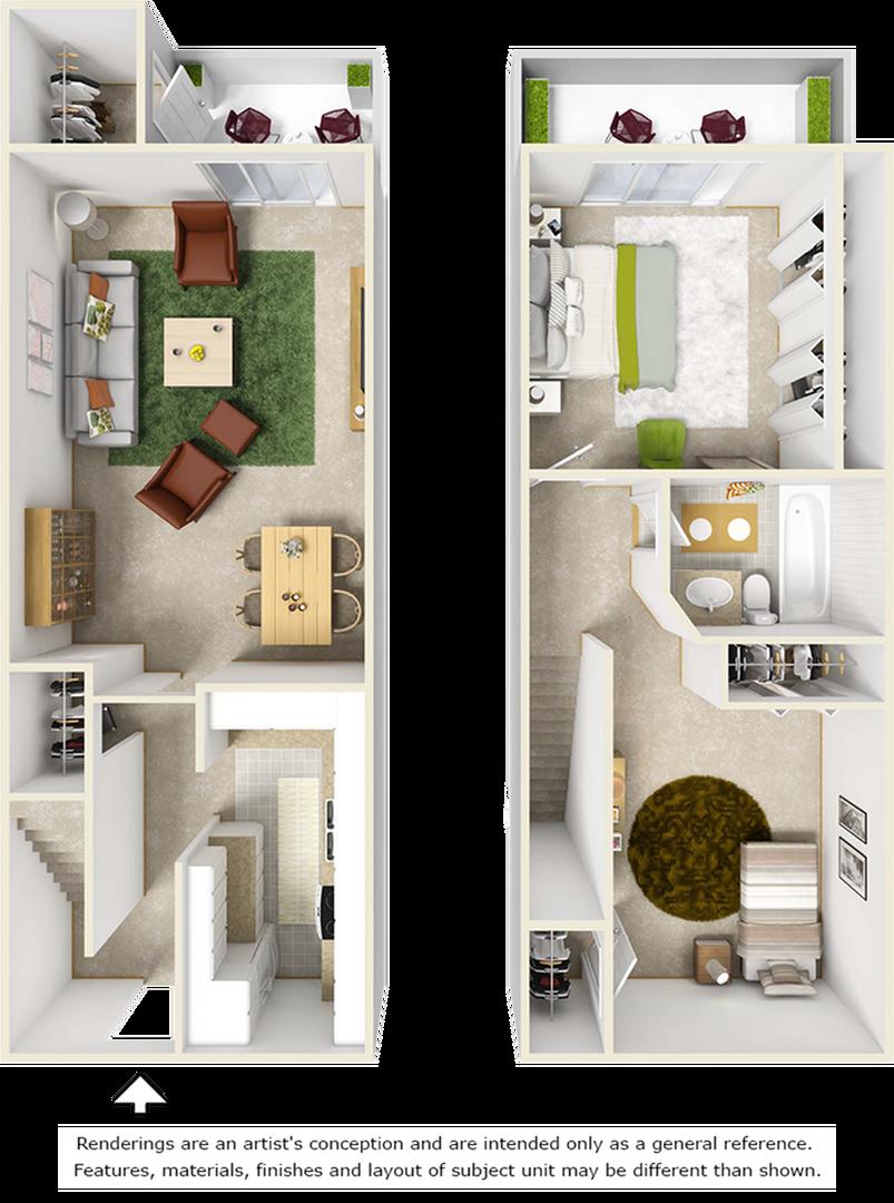 Timucuan 2 bedrooms and 1 bathroom floor plan with premium wood style flooring