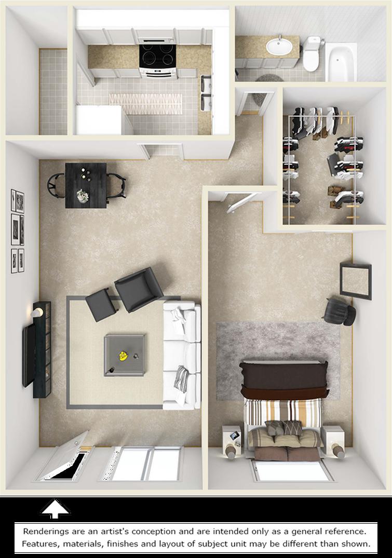Bel-Air 1 bedroom 1 bathroom floor plan with premium finishes