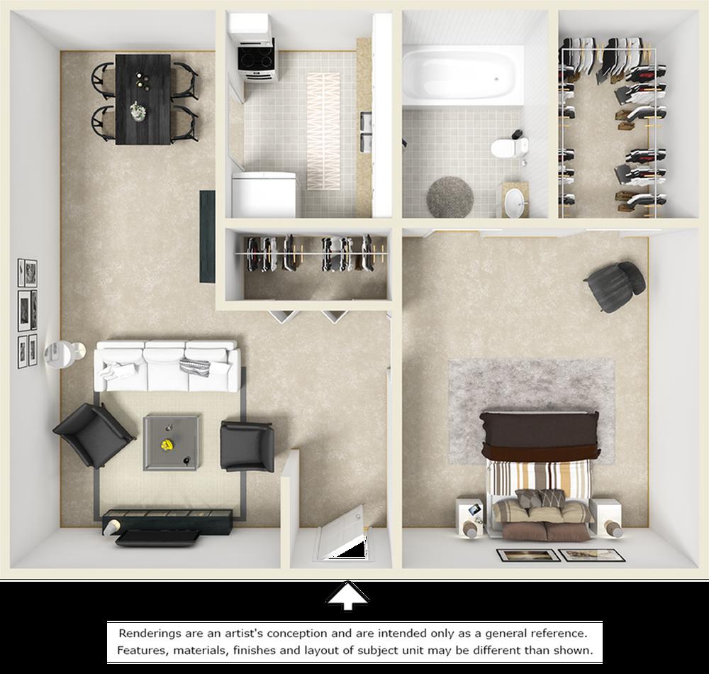 Village West 1 bedroom and 1 bathroom floor plan