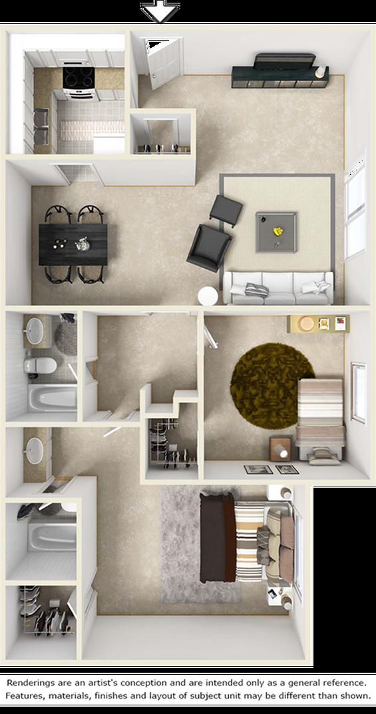 Bel-Air 2 bedroom and 2 bathroom floor plan