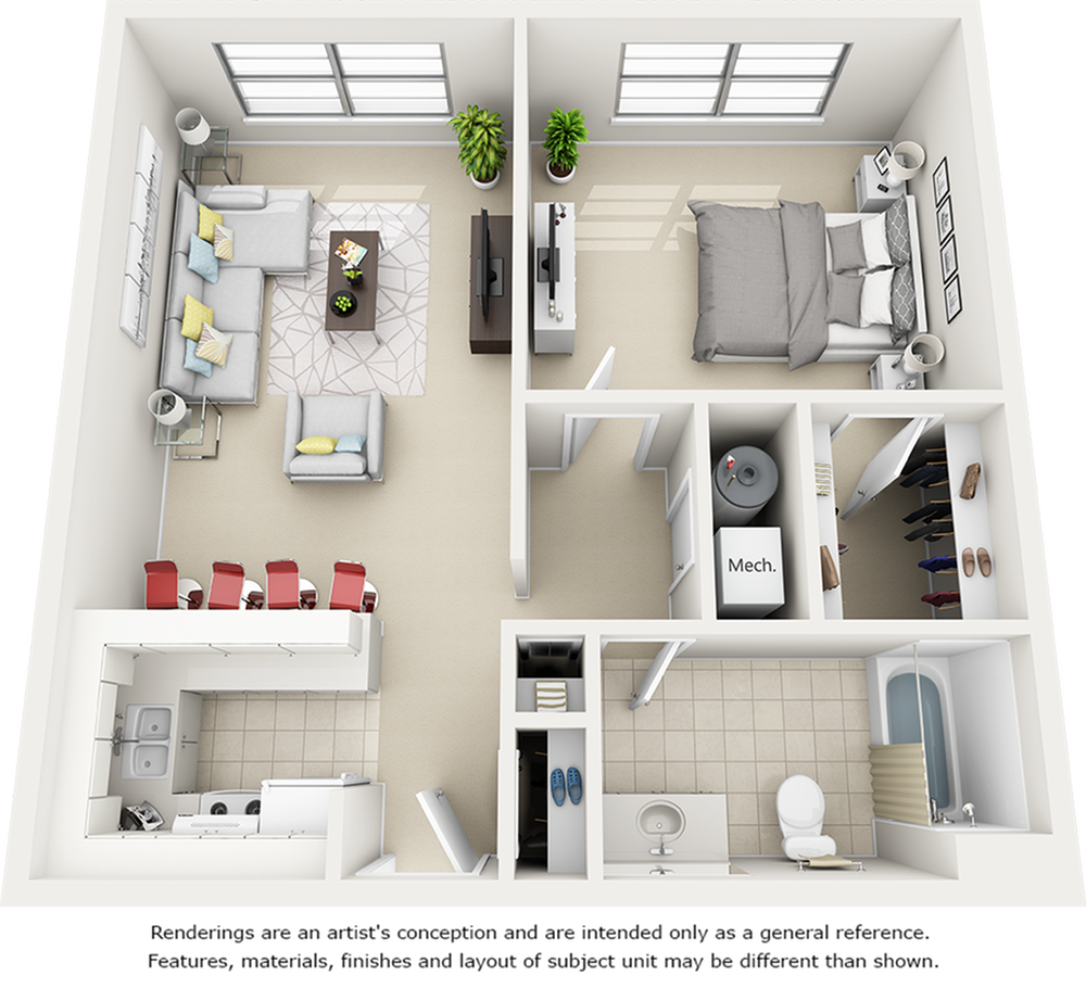 Holly 1 Bedroom and 1 Bathroom Floor Plan
