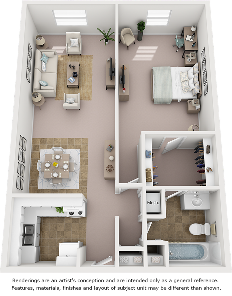 Azalea 1 Bedroom and 1 Bathroom Floor Plan