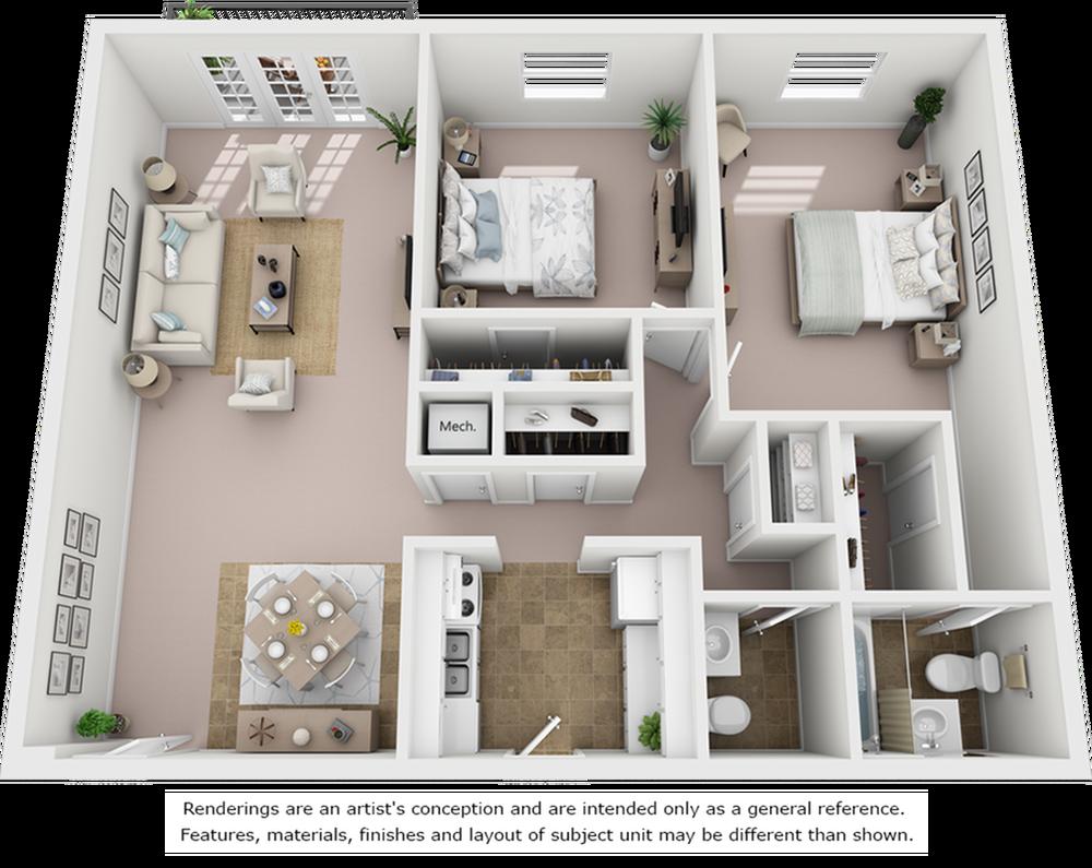 Crepe Myrtle 2 bedroom and 1 bathroom floor plan