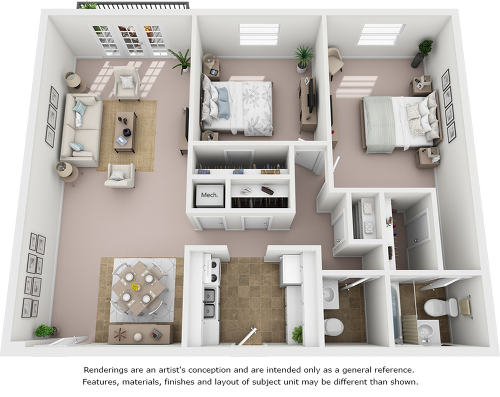 Crepe Myrtle 2 bedrooms and 1 bathroom with enhanced finishes floor plan