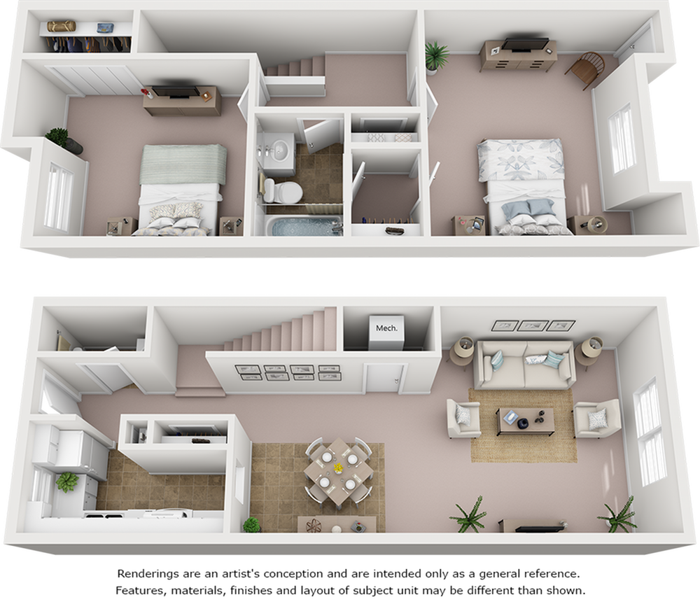 Oak floor plan with 2 bedrooms and 1.5 bathrooms