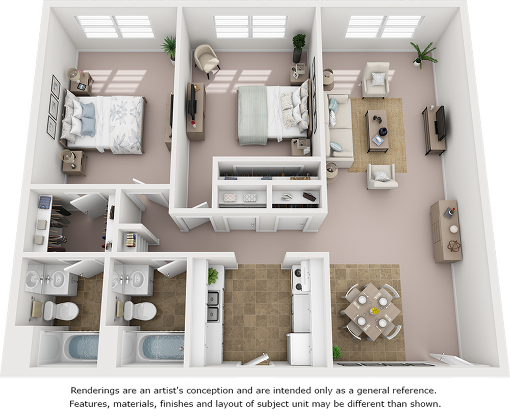 Palm floor plan with 2 bedrooms, 2 bathrooms, and enhanced finishes