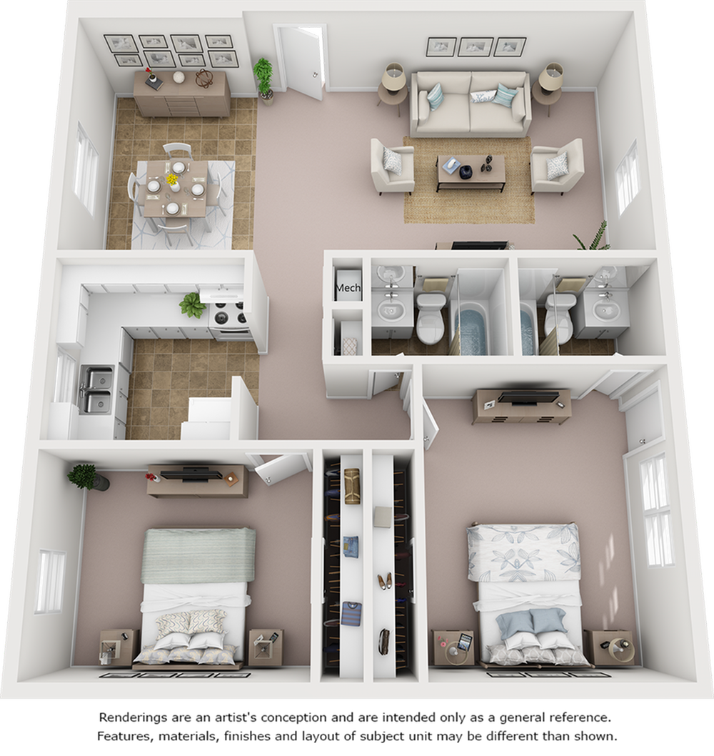 Windmill floor plan with 2 bedrooms and 2 bathrooms