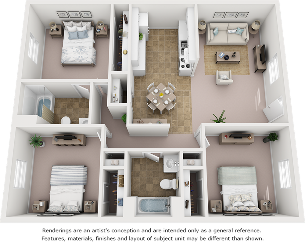 Juniper floor plan with 3 bedrooms, 2 bathrooms and enhanced finishes