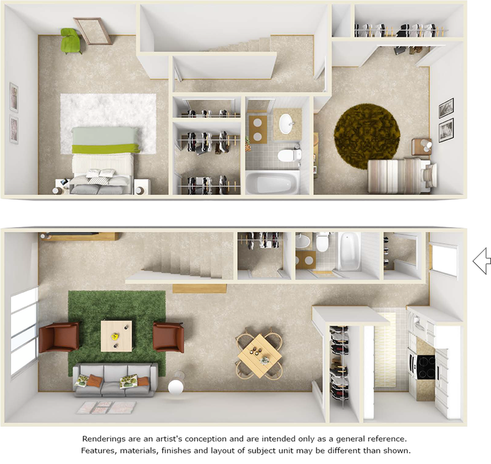 Egret floor plan with 2 bedrooms and 1.5 bathrooms