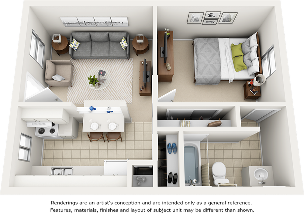 Oasis 1 bedroom 1 bathroom floor plan