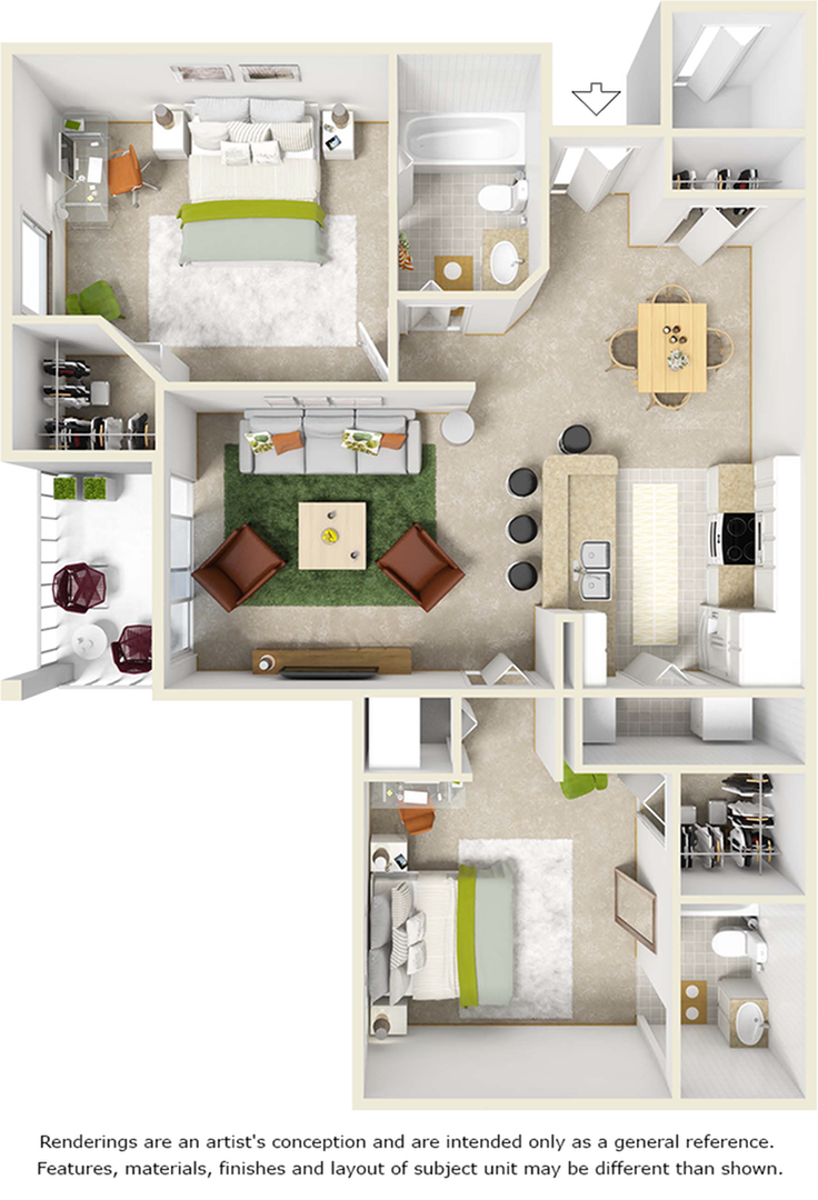 Laurel 2 bedrooms 2 bathrooms floor plan with wood inspired floors
