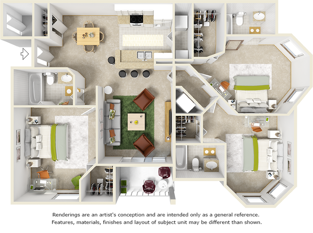 Willow 3 bedrooms 3 bathrooms floor plan with tile floors