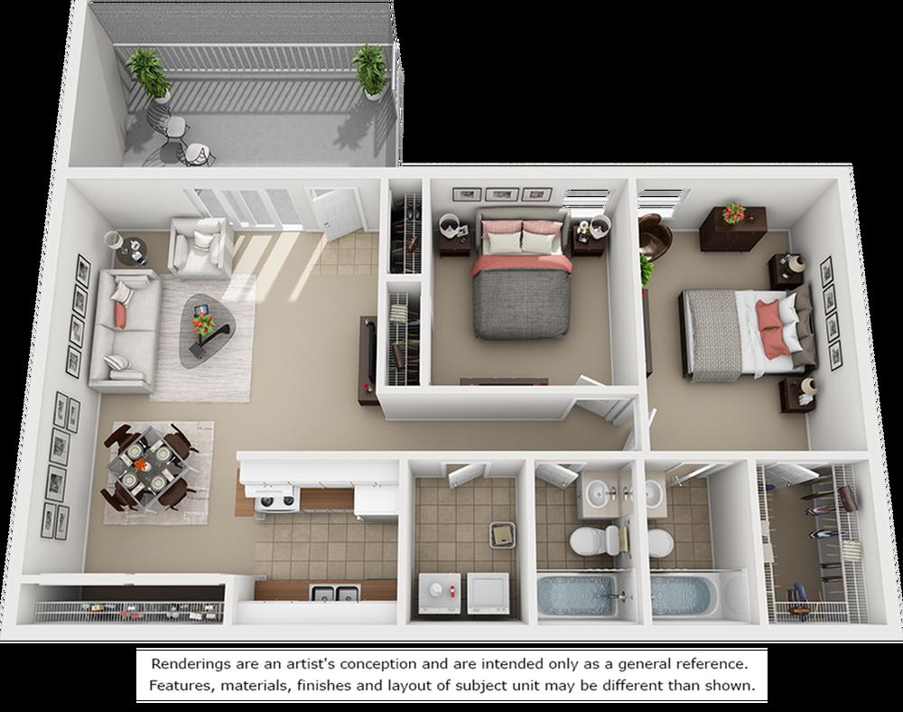Tranquility 2 bedrooms 2 bathrooms floor plan.