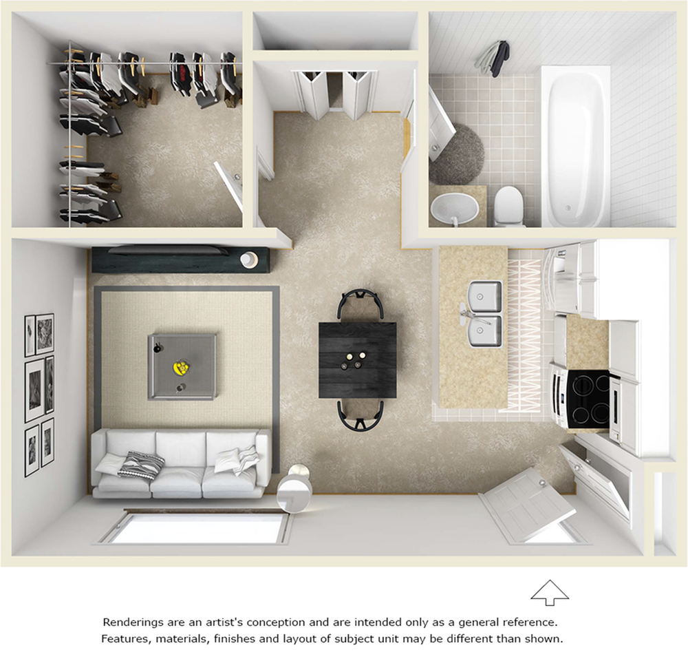 The Oasis 1 bathroom studio floor plan