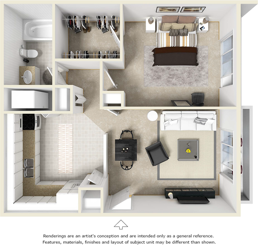 The Sago 1 bedroom 1 bathroom floor plan with wood style floor