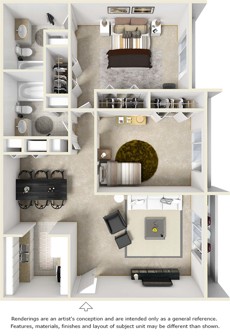 The Iris 2 bedrooms 2 bathrooms floor plan with washer and dryer