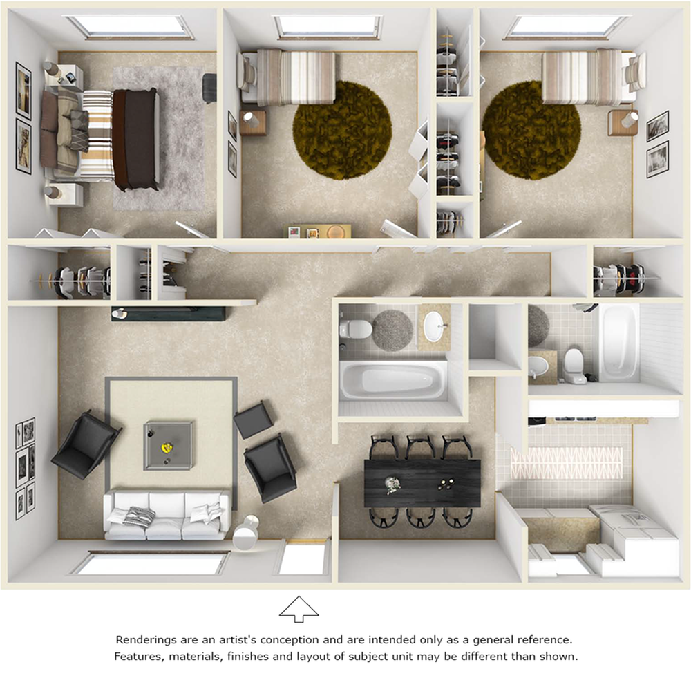 The Seville 3 bedrooms 2 bathrooms floor plan with premium finishes