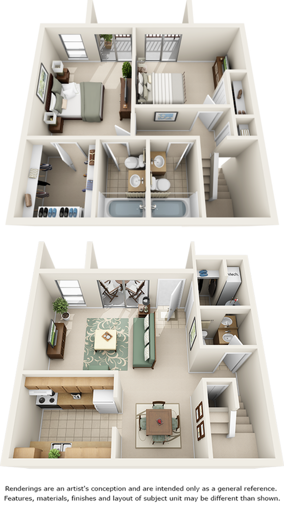 Orange Blossom 2 bedrooms 2.5 bathrooms floor plan with premium cabinetry