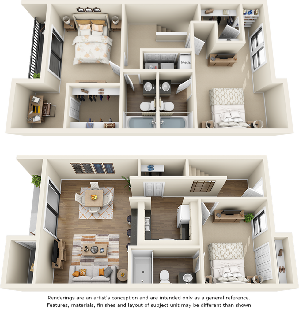 Cypress 3 bedrooms 3 bathrooms floor plan with modern finishes, stone countertops and double balcony