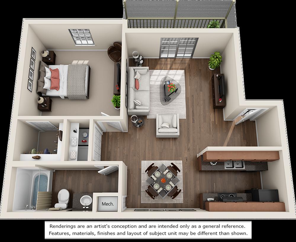 Pacific 1 bedrooms 1 bathrooms floor plan