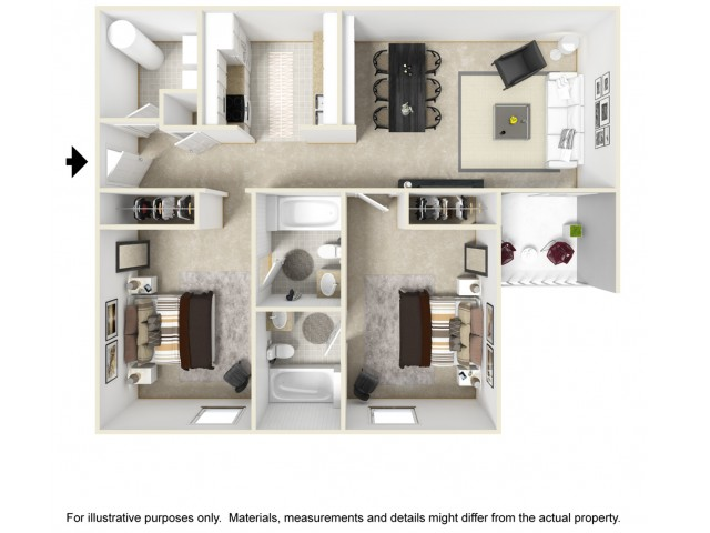 Scholar 2 bedrooms 2 bathrooms floor plan