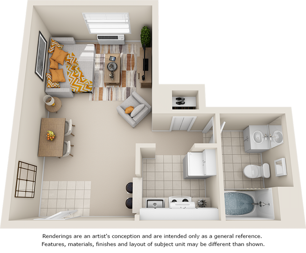Redbud 1 bathroom studio floor plan