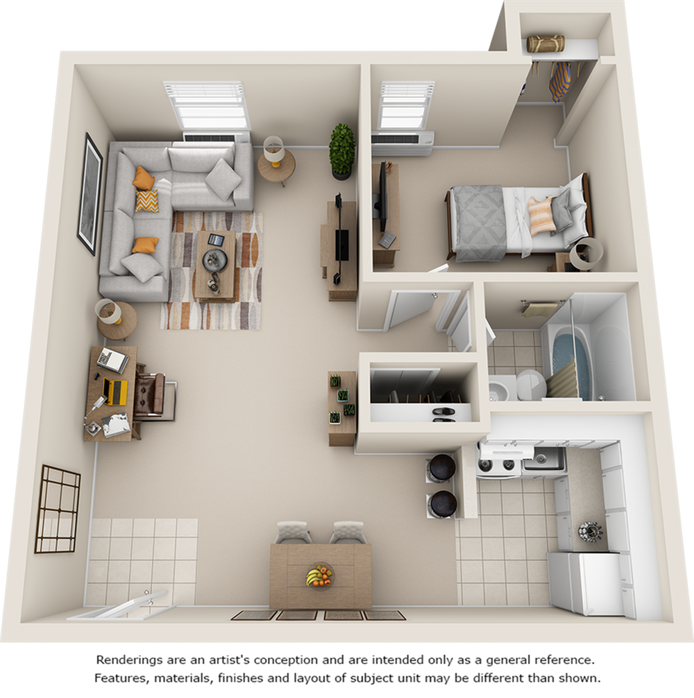 Magnolia 1 bedroom 1 bathroom floor plan