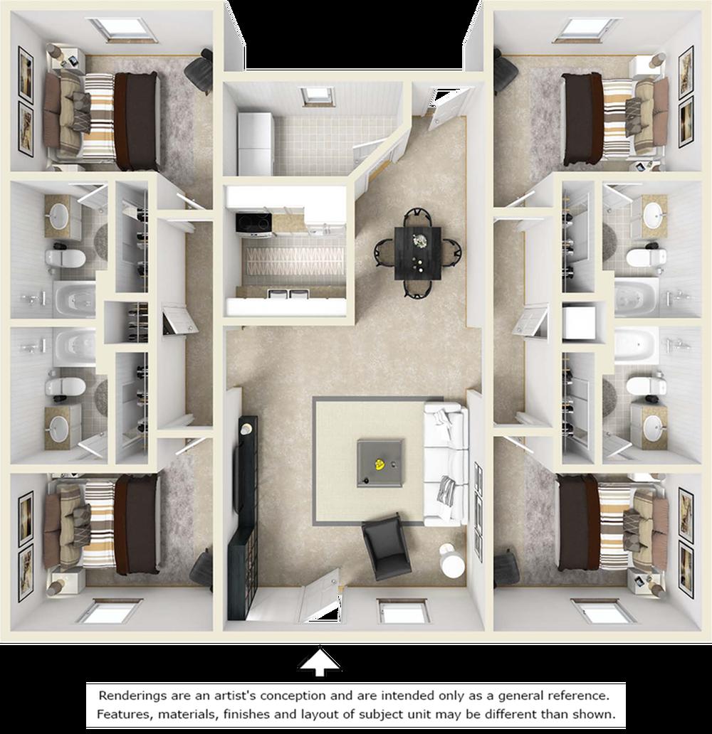 4-4 Flat floor plan