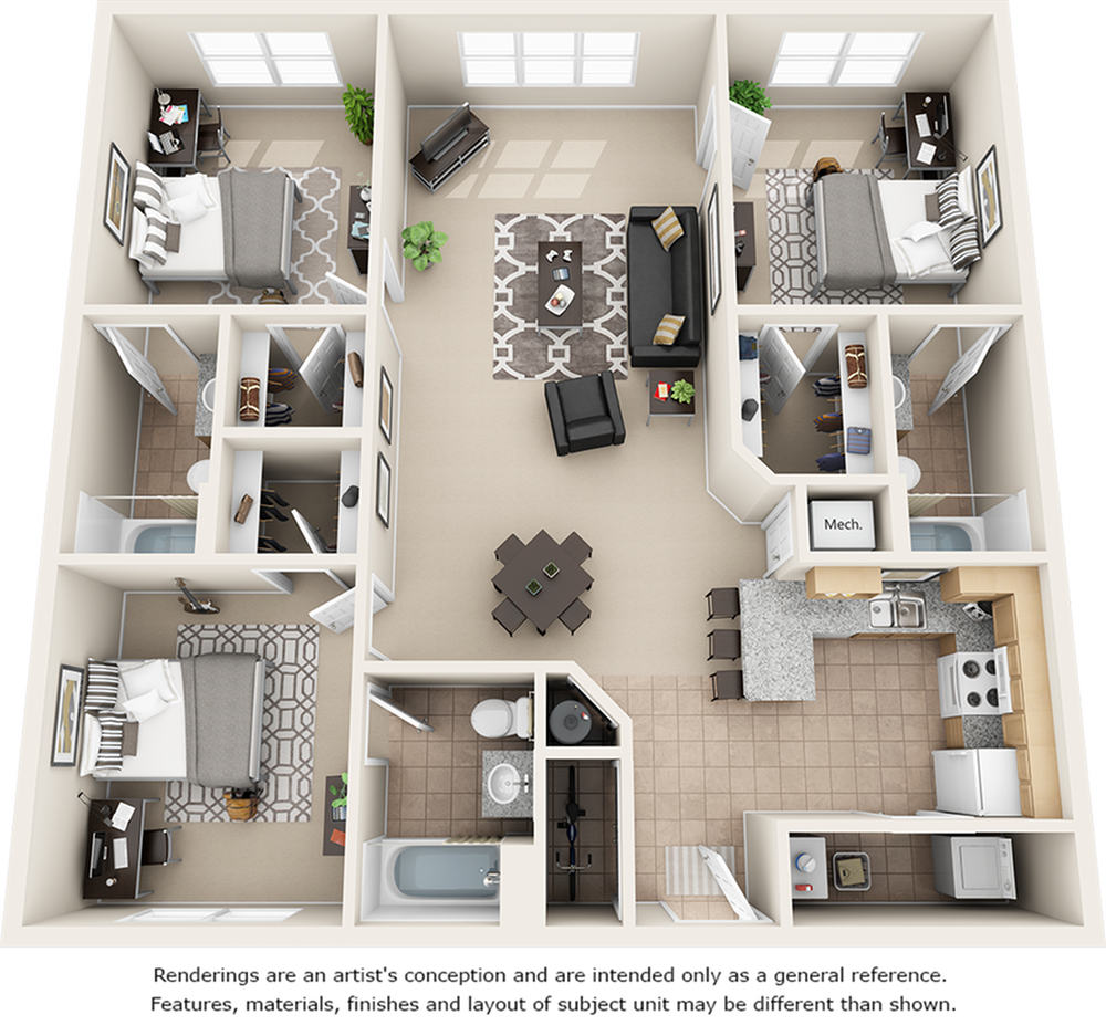 Crescent 3 bedrooms 3 bathrooms floor plan.
