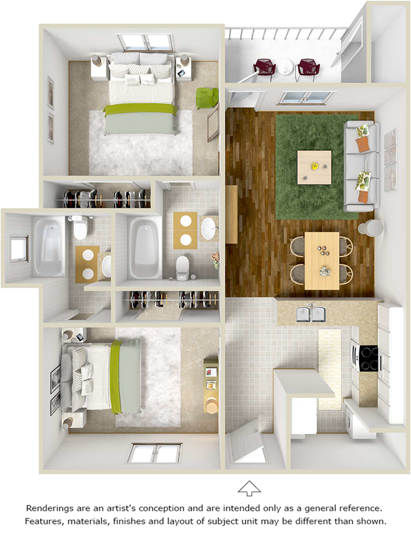 Adobe 2 bedrooms 2 bathrooms with upgraded flooring floor plan