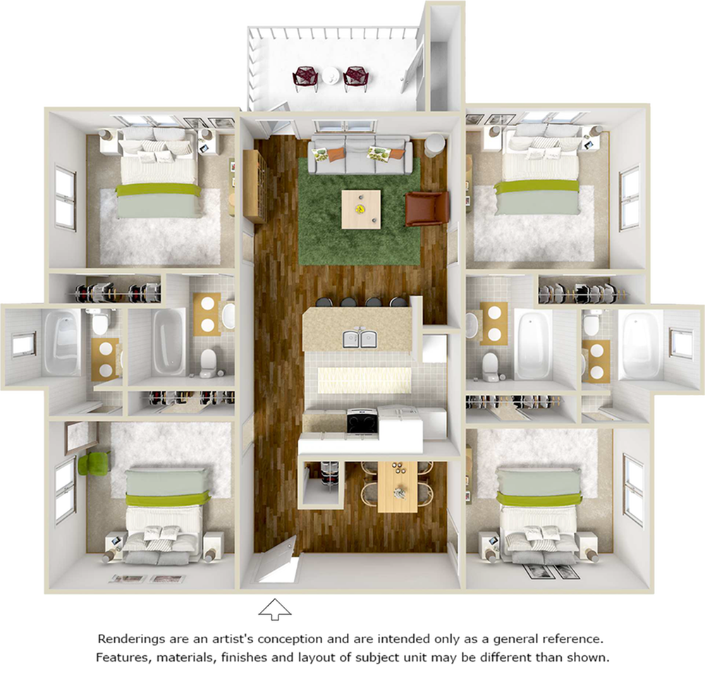 Seneca 4 bedrooms 4 bathrooms floor plan with upgraded flooring