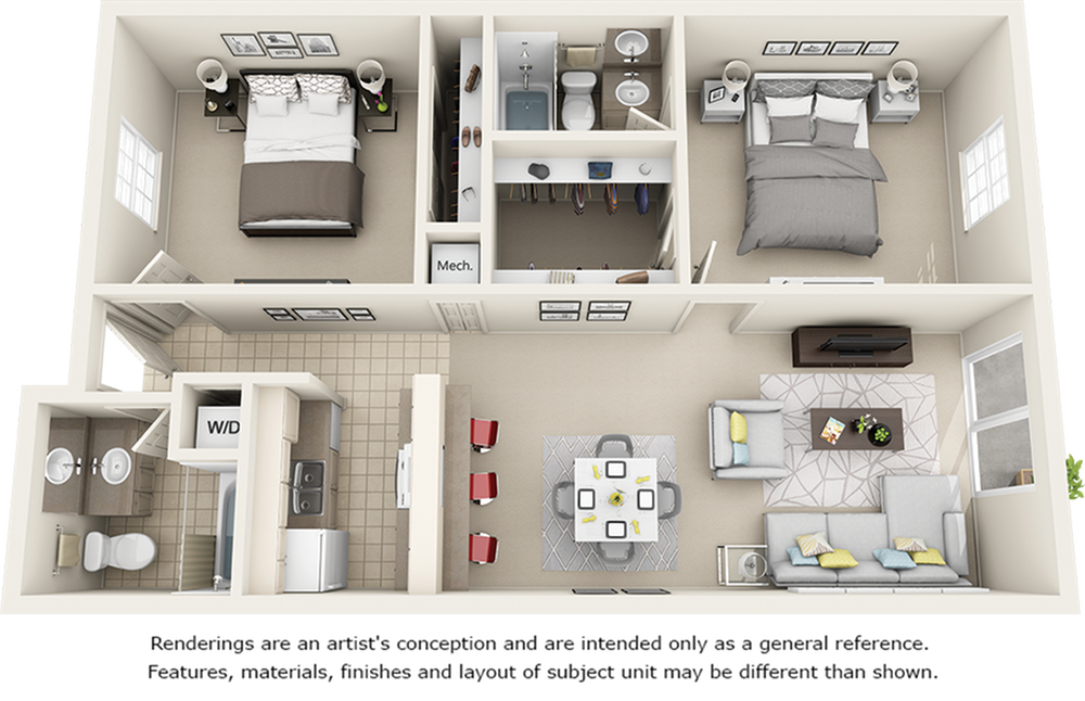 Hartford 2 bedrooms 2 bathrooms floor plan