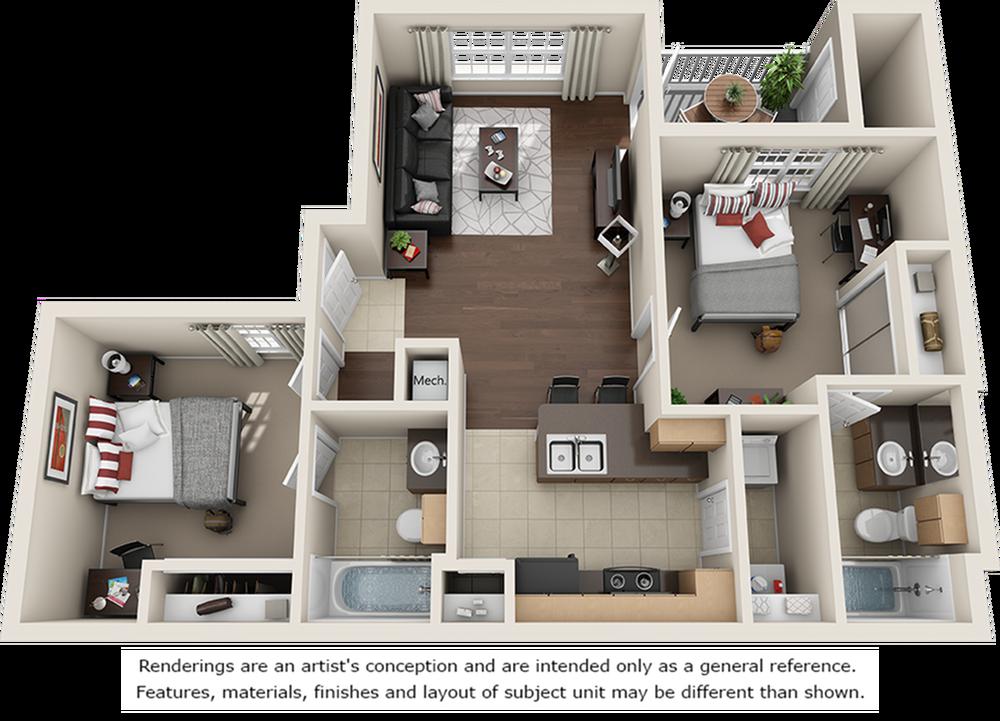 Betts 2 bedrooms 2 bathrooms floor plan