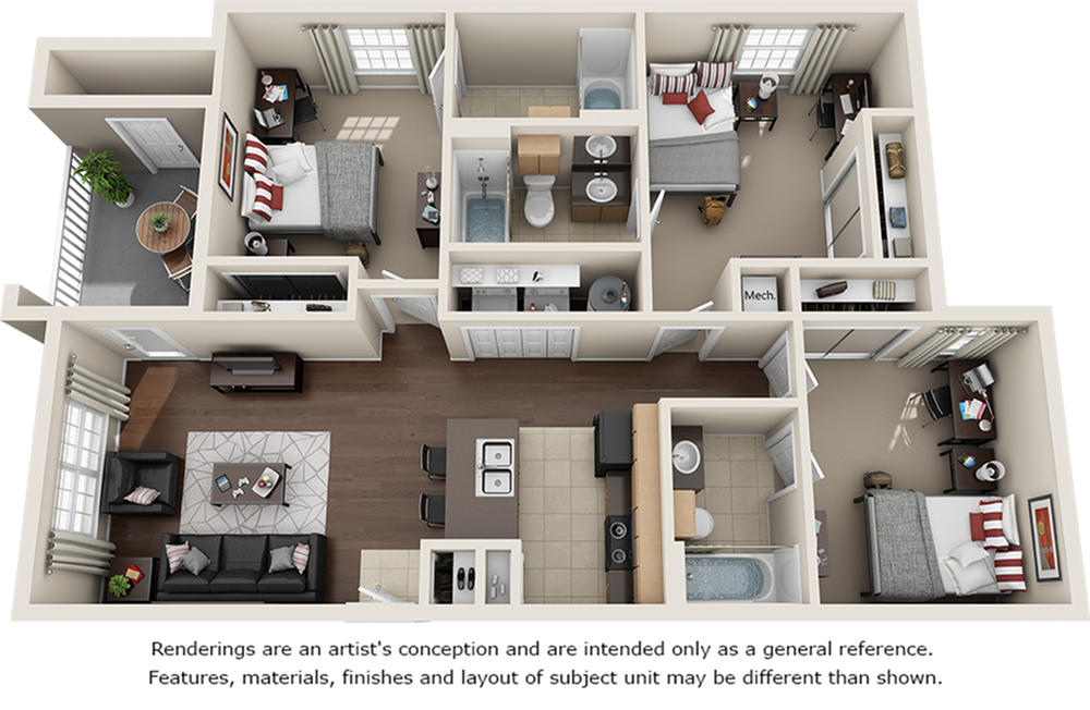 Oakleyl 3 bedrooms 3 bathrooms floor plan