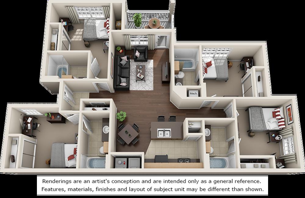 Haynes 4 bedrooms 4 bathrooms floor plan