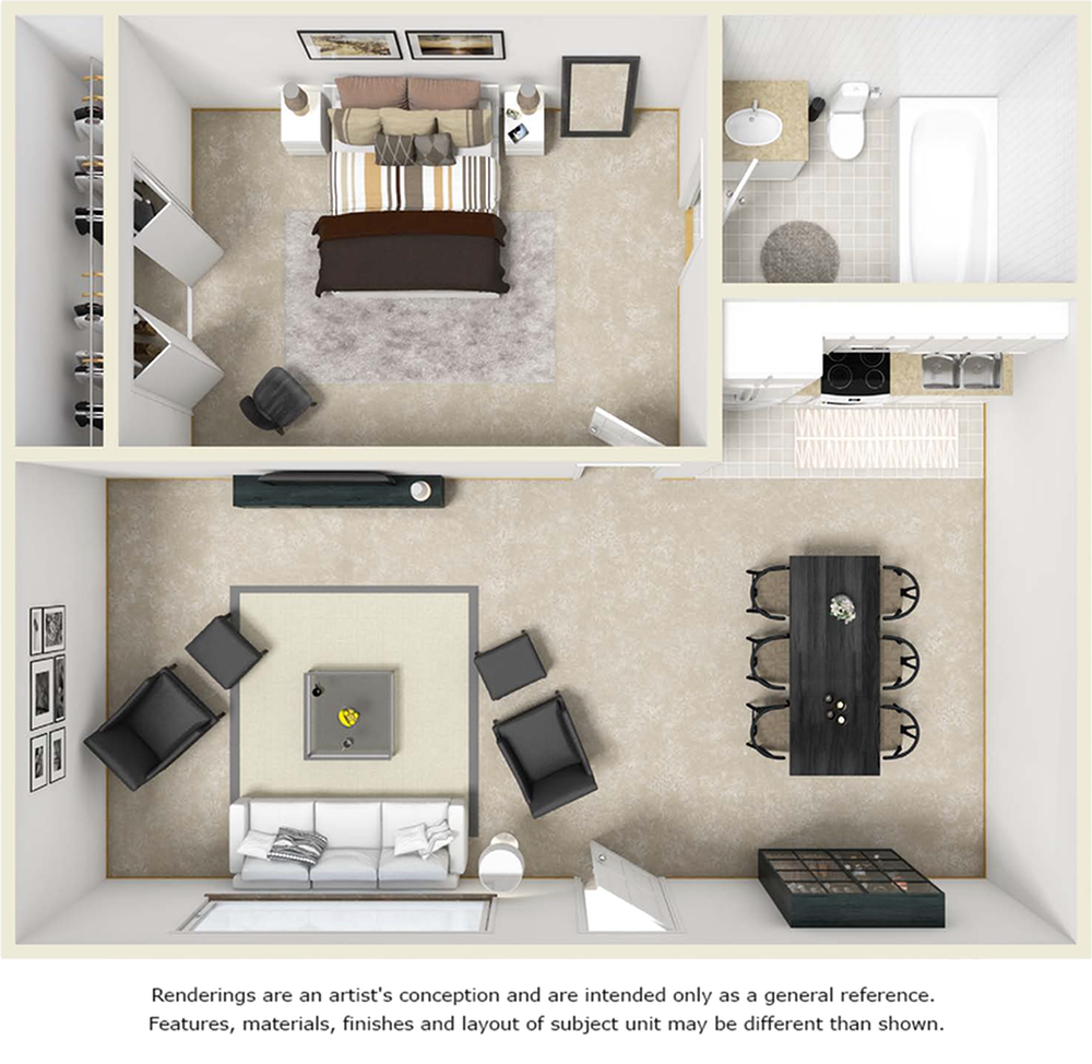 Tranquility 1 bedroom 1 bathroom floor plan with premium finishes