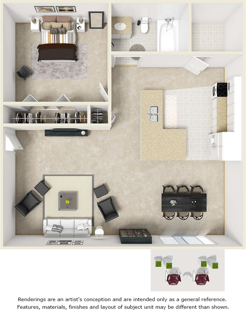 Serenity 1 bedroom 1 bathroom floor plan with wood style floors