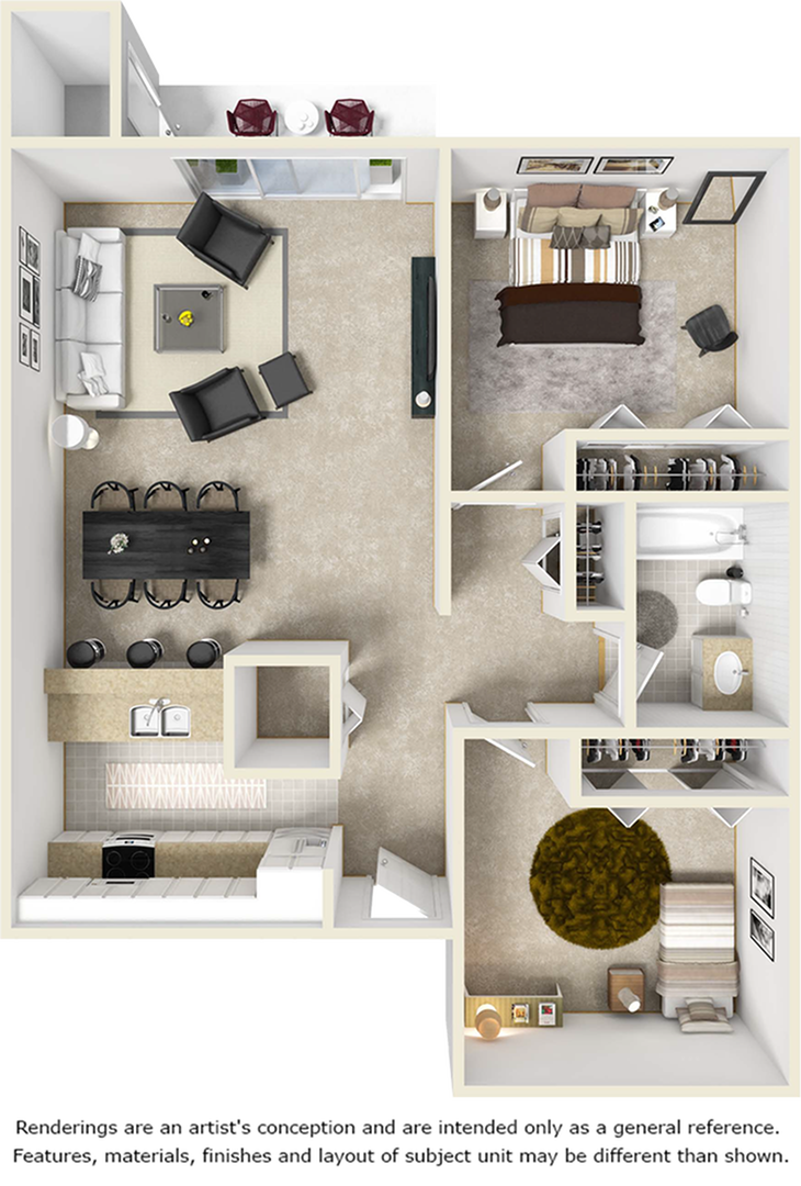 Harmony 2 bedrooms 1 bathroom floor plan with with wood style floors
