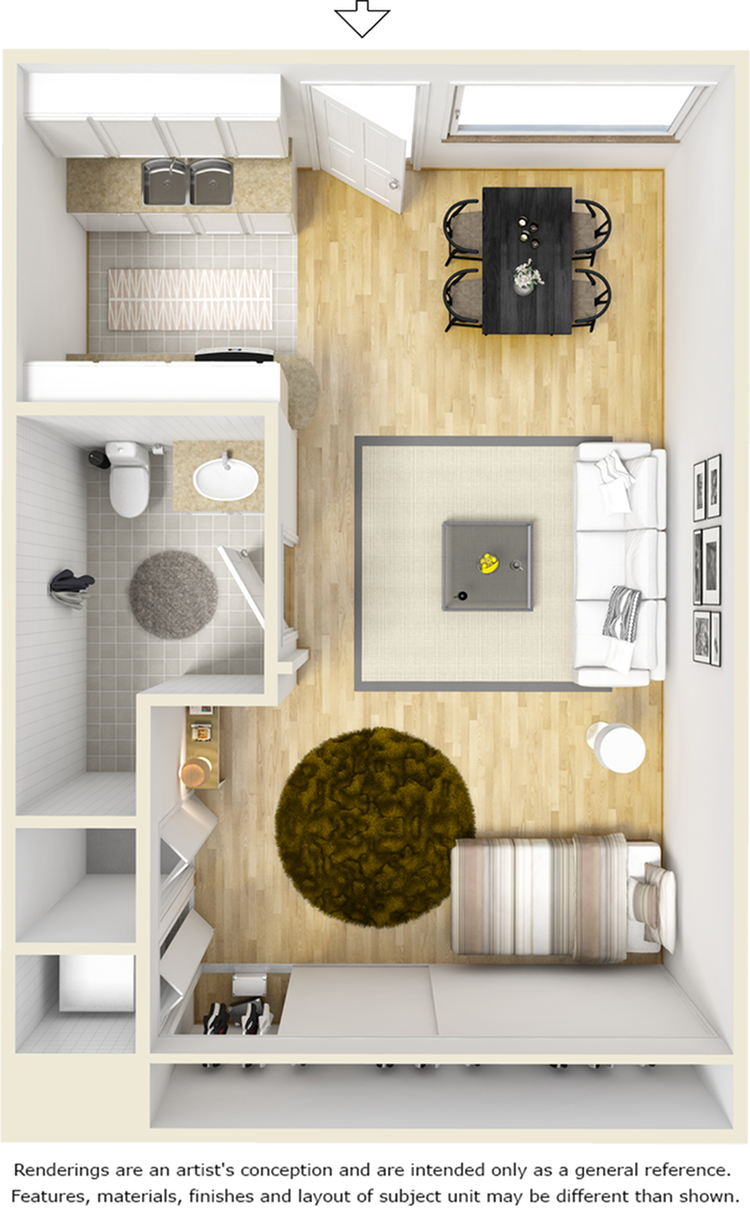 Clinton 1 bathroom studio floor plan