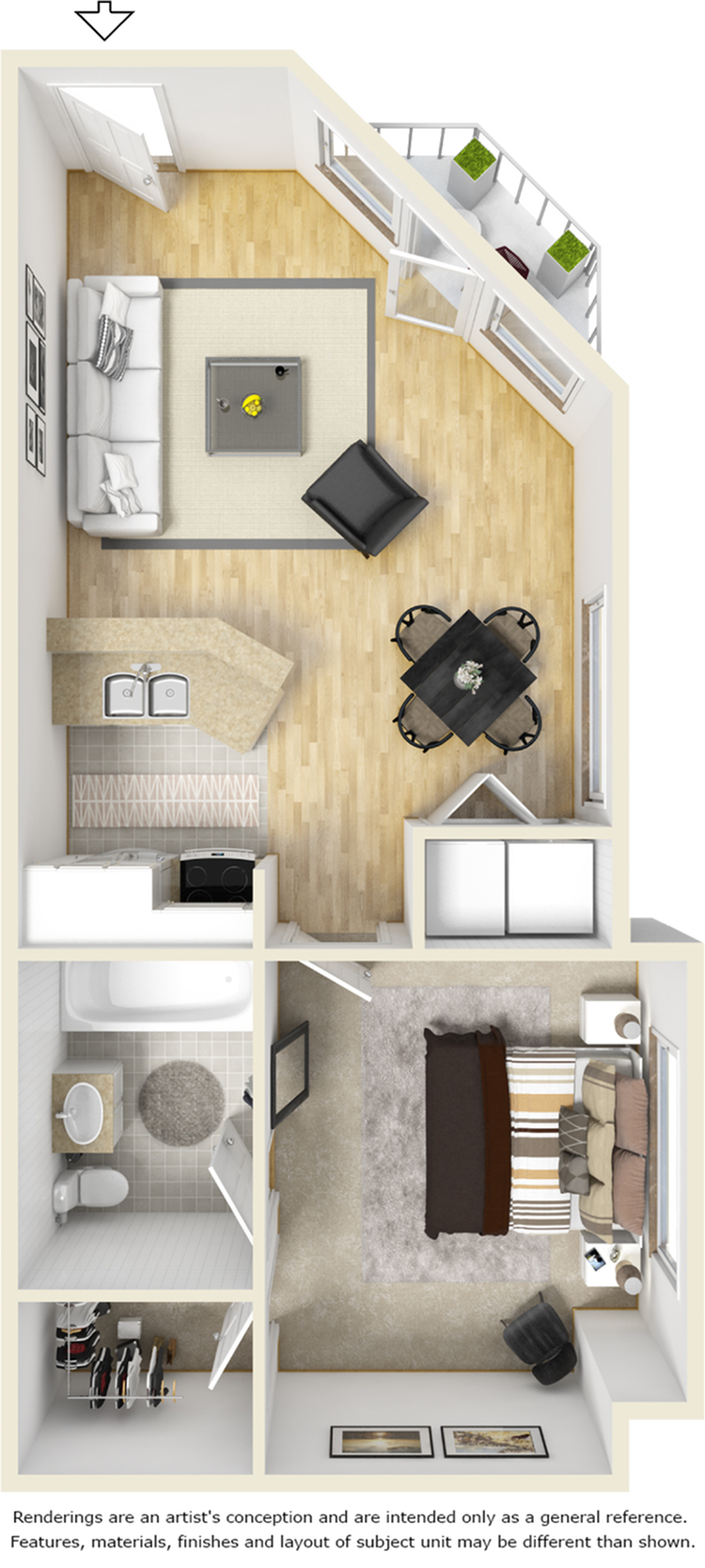 Brighton 1 bedroom 1 bathroom floor plan
