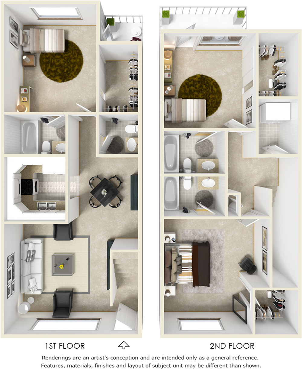 Windsor 3 bedrooms 3.5 bathrooms floor plan