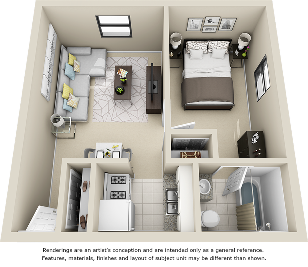 Sledd 1 bedroom 1 bathroom floor plan