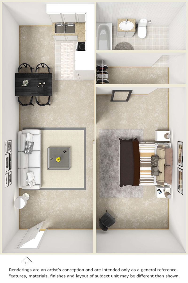 Freshman 1 bedroom 1 bathroom floor plan