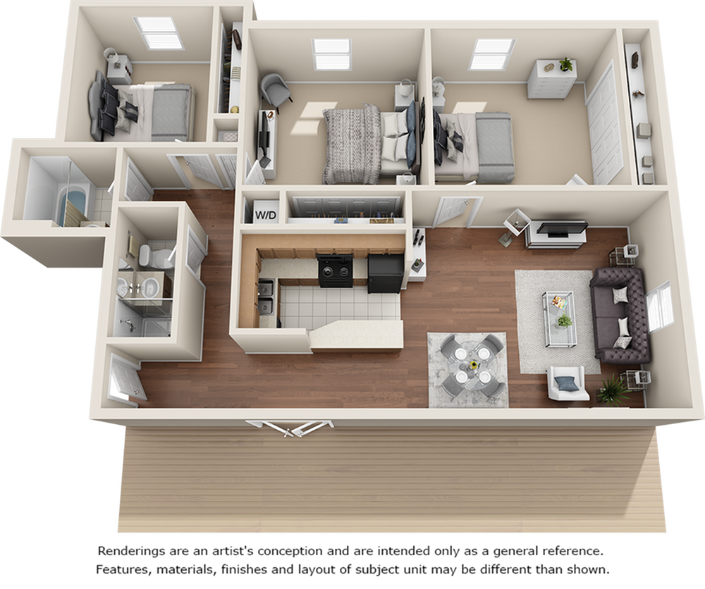 Penthouse 3 bedrooms 2 bathrooms floor plan