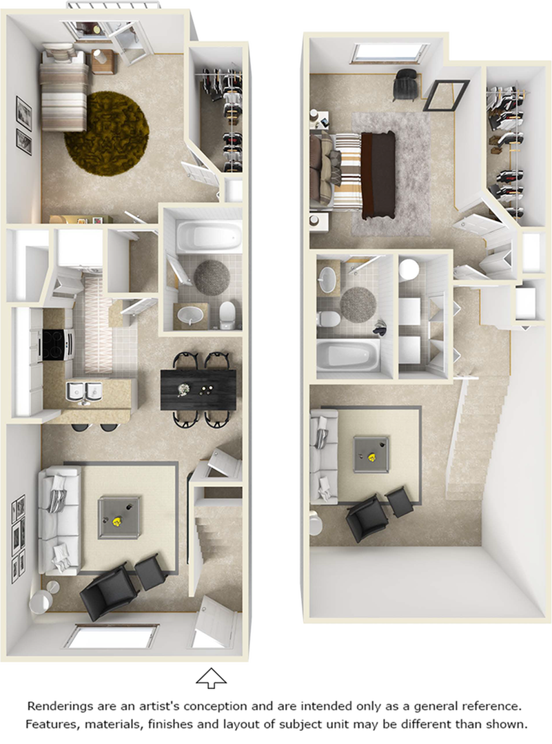 Uffizi 2 bedrooms 2 bathrooms floor plan.