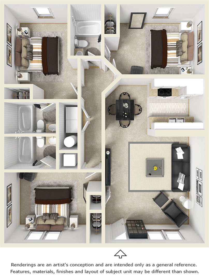 3x3 Flat floor plan