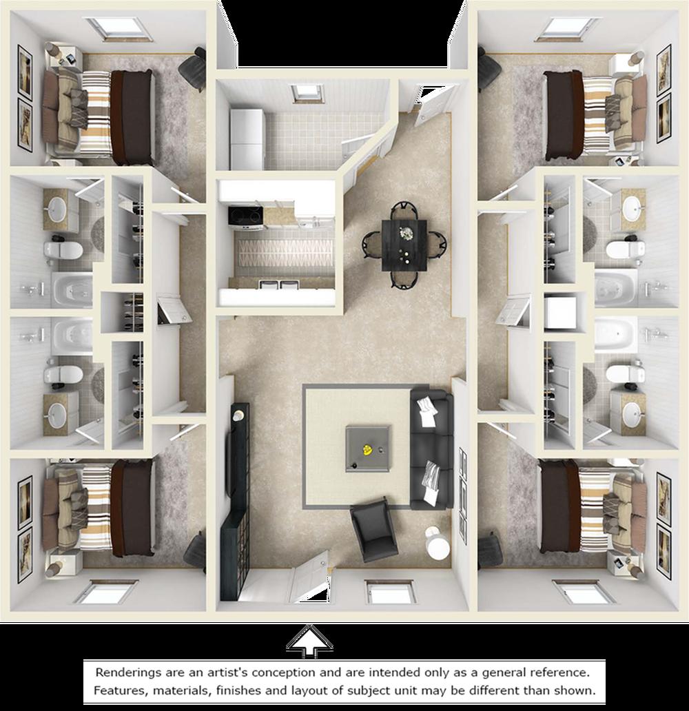 4x4 Flat floor plan