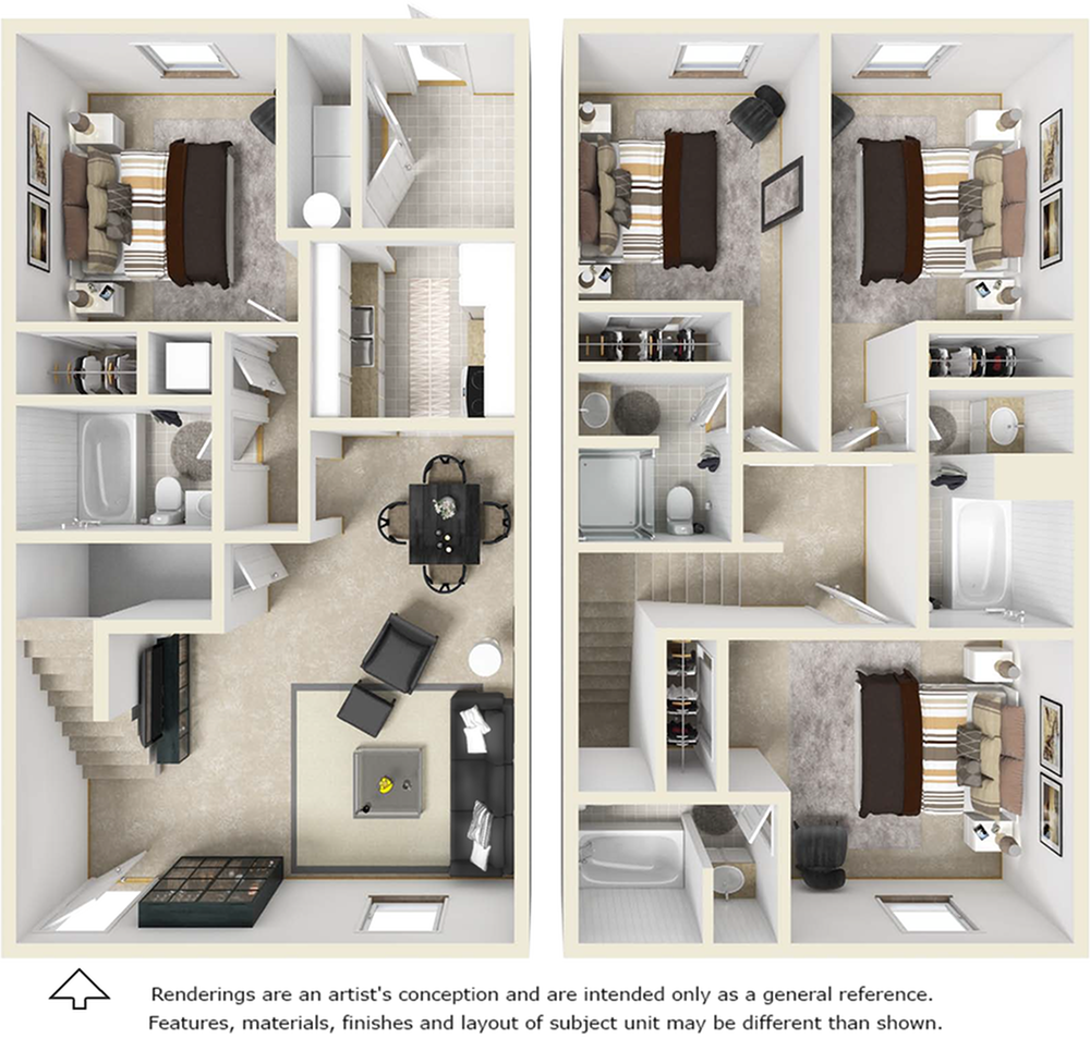 4x4 Townhome floor plan